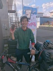 宮崎県から日本一周の旅の途中の神坂仁さん