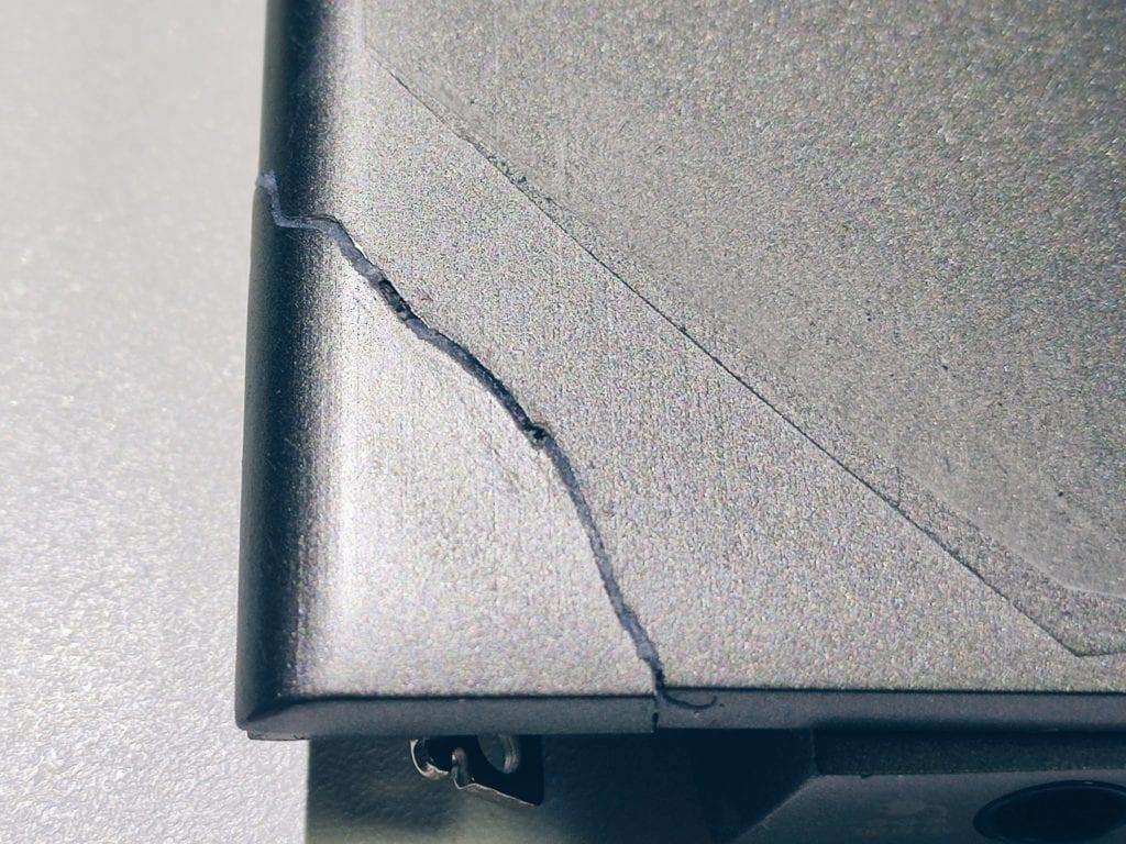 ノートパソコン割れの跡