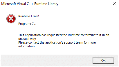 C++ ランタイムエラー
