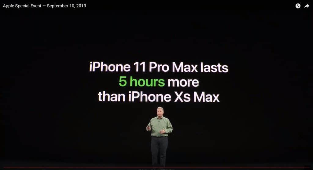 iPhone11 Pro MAXはXS Maxとくらべてバッテリー5時間長持ち