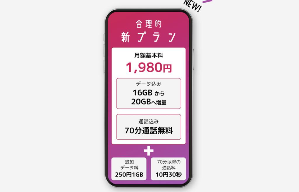 日本通信の月70分話し放題で1,980円