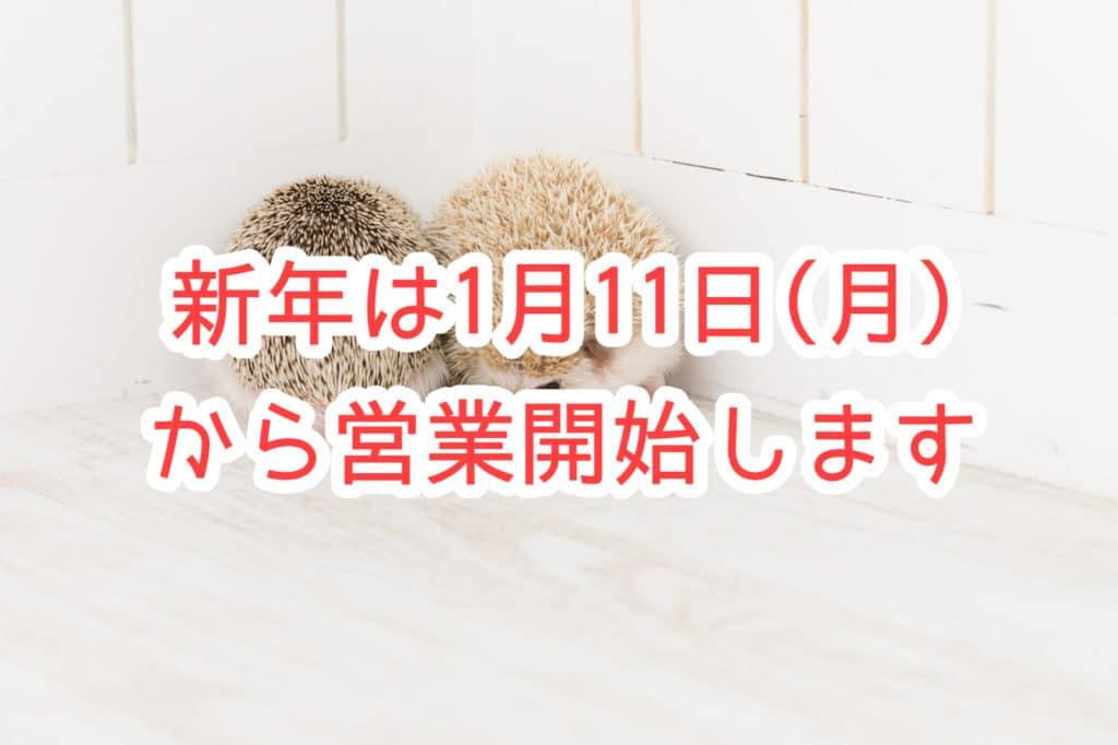 新年は1月11日(月)から営業開始となります【ご不便をおかけしております】